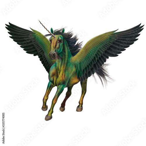 cheval, animal, en vol, volant, licorne, isolé, coloré bleu , robe rare, spécial Wallpaper Mural