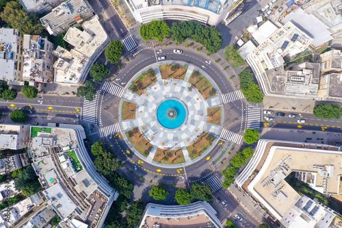Fototapeta Corona Virus lockdown, Tel Aviv Dizengoff square, Aerial view or the square and surrounding buildings during Government lockdown guidelines. obraz
