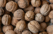 Walnuts With Shells. Background Of Fresh Walnuts.