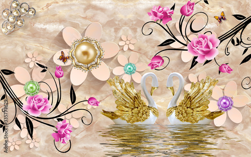 Do pokoju   3d-mural-paint-illustration-background-with-flowers-decorative-and-golden-jewelery-wallpaper-colored-peacock-and-swan