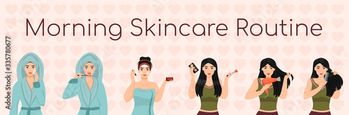 Fotomural Woman morning skincare routine flat color vector characters set