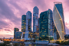 Moscow. Russia. Skyscrapers Against A Gray-pink Sky. Evening In The Center Of Moscow. Moskva-city. High-rise Office Buildings. Modern Urban Architecture. City Of Russia. The Capital Of The Russia.
