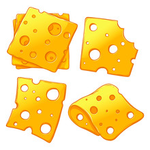 Cheese Slices Set Isolated On ...