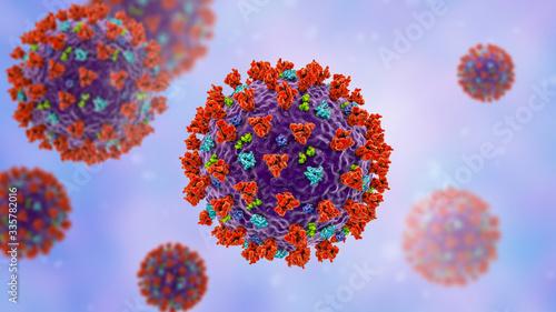 Fototapety, obrazy: SARS-CoV-2 coronavirus, previously 2019-nCoV, also known as Covid-19