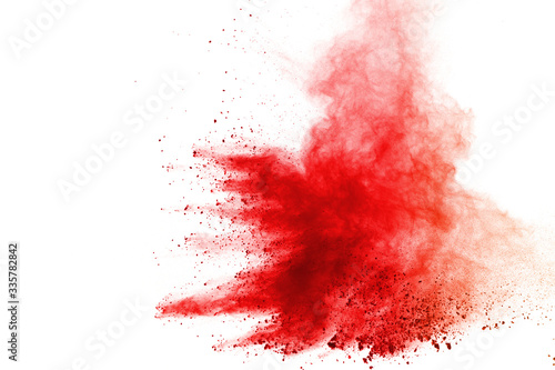 Fototapeta Abstract of red powder explosion on white background obraz
