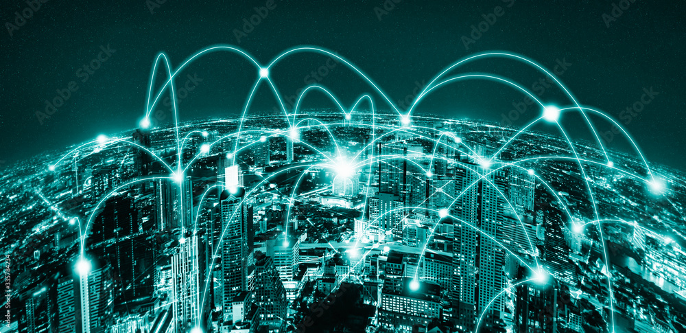 Fototapeta Modern creative telecommunication and internet network connect in smart city. Concept of 5G wireless digital connection and internet of things future.