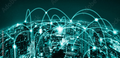 Obraz Modern creative telecommunication and internet network connect in smart city. Concept of 5G wireless digital connection and internet of things future. - fototapety do salonu
