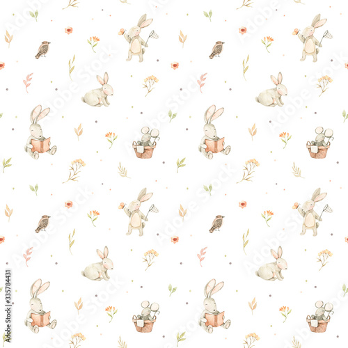 Watercolor seamless pattern with cute bunnies, mouse, bird and floral elements Fototapeta