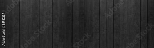 Fototapeta Panorama of Black wood fence texture and background seamless. obraz na płótnie