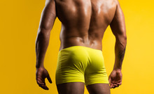 Man Buttocks In Yellow Underpa...