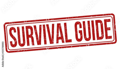 Fotografie, Obraz Illustration of a red survival guide sign against a white background