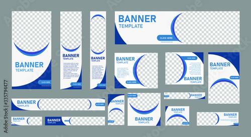 Obraz set of creative web banners of standard size with a place for photos. Vertical, horizontal and square template. vector illustration eps 10 - fototapety do salonu