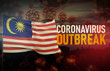 Coronavirus COVID-19 outbreak concept with flag of Malaysia. Pandemic 3D illustration.