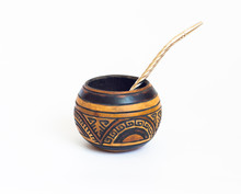 Mate Gourds And Bombilla - Yerba Mate Vessels Made Out Of Calabash. Cup Of Mate From South America. White Isolated Background. Typical Drink From Brazil, Argentina, Uruguay And Paraguay