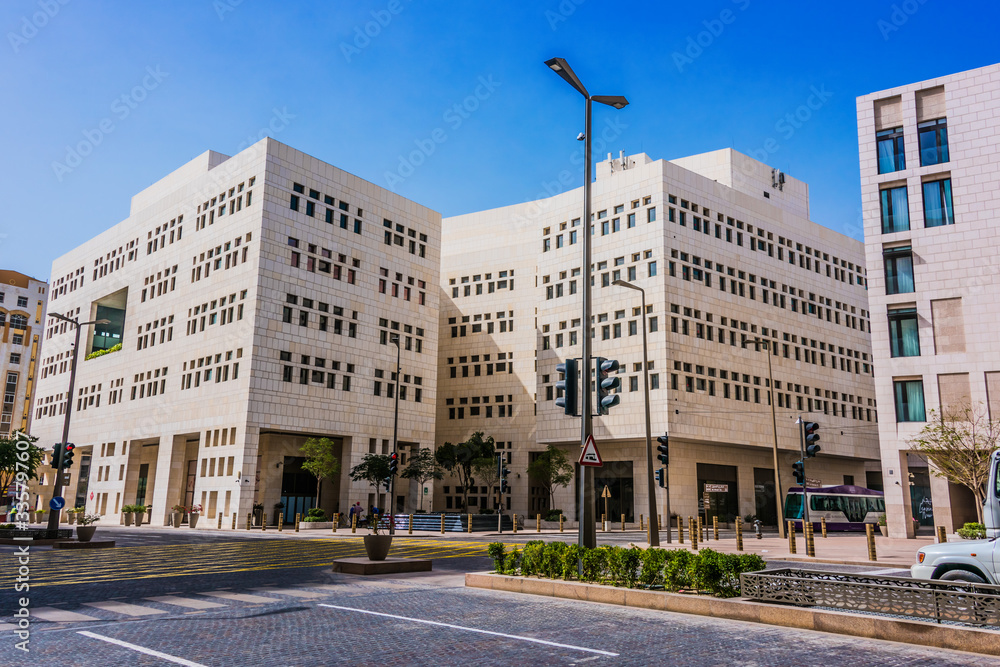 Modern architecture of Msheireb Downtown in Doha, Qatar