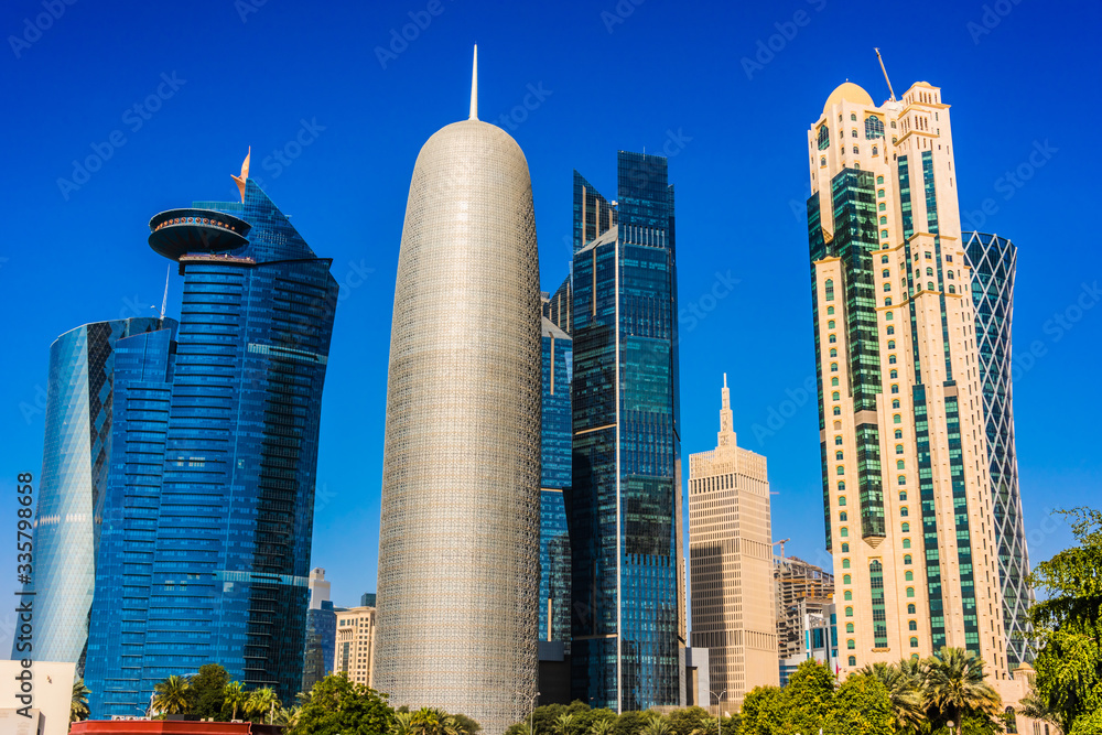 Modern business architecture of downtown Doha, Qatar