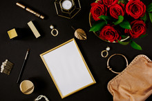 Golden Blank Frame With Luxury...