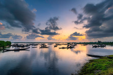 Boats In Tam Giang Lagoon In Sunrise In Hue, Vietnam