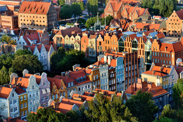 Old town Gdansk, Poland, panoramic view from above