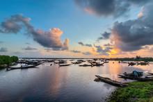 Boats In Tam Giang Lagoon In Sunrise In Hue, Vietnam