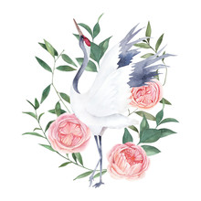 Watercolor Print With Crane An...