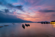 """Beautiful Sunset In """"Lap An"""" Lagoon A Beautiful And Famous Lagoon In Lang Co Town, Hue City, Vietnam For Eco Nature Travel."""