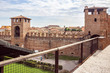 View from the Castelvecchio Castello Scaligero fortress wall of the fortress wall and Verona city in Italy