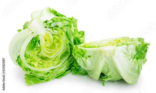 Obraz Fresh iceberg lettuce on white background - fototapety do salonu