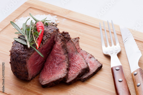 Fotografering Sliced grilled marbled meat steak Filet Mignon