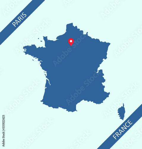 France map with capital Paris