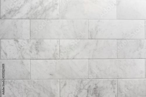 subway tile carrara marble wall background Fototapet