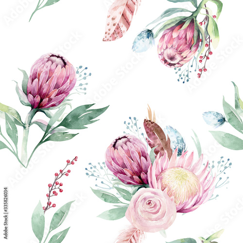 Obraz Watercolor protea seamless pattern. tropical leaves background. Textile texture. Hand drawn illustration - fototapety do salonu