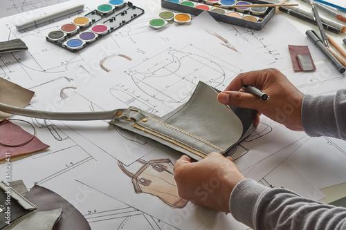 Designer stylish sketch Drawn design template pattern made leather clutch bag handbag purse Woman female Fashionable Fashion Luxury Elegant accessory Fototapeta