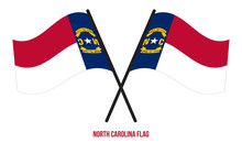 Two Crossed Waving North Carolina Flag On Isolated White Background.