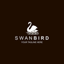 White Swan Icon Isolated On Bl...
