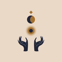 Hands Holding Moon And Sun. Sacred Geometry. Magic Witchcraft Concept. Vector Illustration.