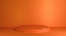 Pedestal Cylinder Orange On An Orange Wall And Floor Background. 3d Render Cylinder To Product Display