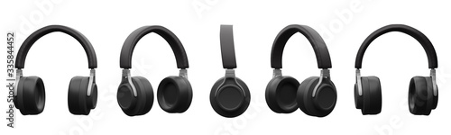 black headphones isolated on white background,5 view,3d render. Fotobehang