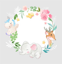 Cute Animal And Flowers In Cir...