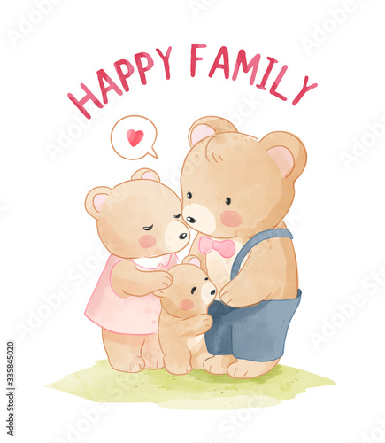 Photo Happy Bear Family Cartoon Illustration