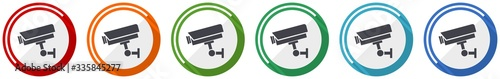 Cctv camera icon set, flat design vector illustration in 6 colors options for we Wallpaper Mural