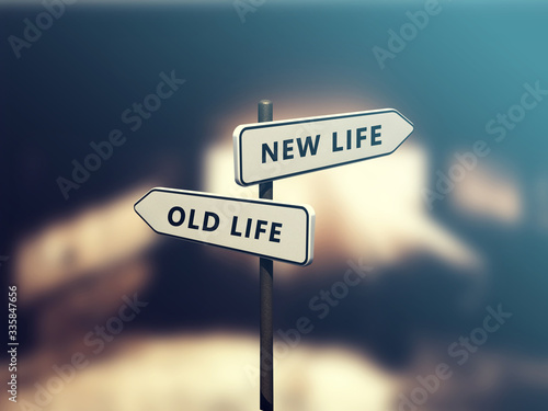 Tela Street sign the direction way to NEW LIFE versus OLD LIFE
