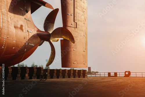 Tela Propeller under reconstruction, Under the ship Big ship Under Repairing on dry d