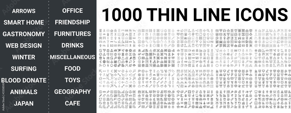 Fototapeta Big set of 1000 thin line icon. Arrows, Smart Home, Food, Toys, Cafe, Business, Office, Friendship, Winter, Blood Donation, Gastronomy, Surfing, Geography ui pack