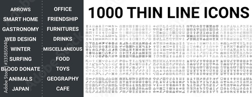 Fotografia, Obraz Big set of 1000 thin line icon
