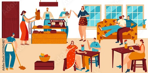 Fototapeta People in cozy cafe, bakery with fresh bread and coffee, pastry shop service, vector illustration. Comfortable patisserie, friends and couples drink coffee in bakehouse. Bakery cafe visitors and staff obraz na płótnie