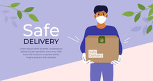 Safe Delivery Concept. Stay Home And Order Food Or Goods By Courier Service. Man In Medical Protective Mask And Gloves Holding Box With Products. Isolation, Coronavirus Quarantine. Vector Illustration