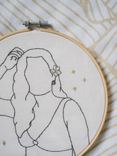 Embroidery Frame Girl Flower Hair