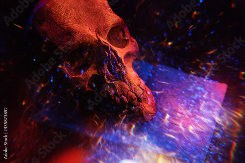 Fototapeta Mystical background with ritual esoteric objects, occultism, fortune telling and Halloween concept