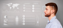 Biometric Data Collection. Face Recognition Of Caucasian Male, Collage With Cyber Info On Virtual Screen. Copy Space